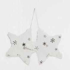 Бумажные белые звезды с серебристым рисунком (набор из 2 шт.) - ПРЕДМЕТЫ ДЕКОРА - Рождество | Zara Home Россия / Russia