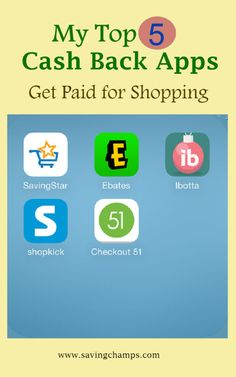 Top cash back apps--SavingStar, Ebates, Ibotta, Shopkick, and Checkout 51. Learn about tips on saving money, earning money when shopping online or in store, getting cashback.