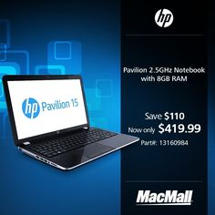 Save $110 on an #HP Pavilion 2.5GHz notebook with 8GB RAM at MacMall.