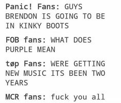 and then there are those of us that are in all four bandoms and are emotionally confused