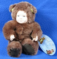 "Anne Geddes Baby Bears Bean Filled 8"" Dark Brown Plush 1997 w/Tag #AnneGeddes #Dolls"