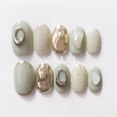Coco Nails, My Nails, Korea Nail, Korean Nail Art, Green Nails, Nail Decorations, Spring Nails, Nails Inspiration, How To Do Nails