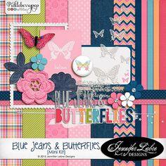 Quality DigiScrap Freebies: Blue Jeans & Butterflies mini kit freebie from Jennifer Labre Designs