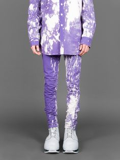 #RAFSIMONS five pocket bleached slim fit jeans purple variation ▷shop now on ANTONIOLI.EU #antoniolieu #antonioli #sterlingruby #paint #purple #skinnies