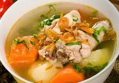 Sup Ayam - Panduan cara membuat video resep sop ayam enak ala kampung pak min no kuah bening ncc bakso telur puyuh makaroni suwir jtt yang paling spesial ada disini. Chicken Broth Soup, Veg Soup, Tofu Soup, Prawn Noodle Recipes, Soup Recipes, Recipies, Soto Ayam Recipe, Healthy Eating Meal Plan, Asian Recipes