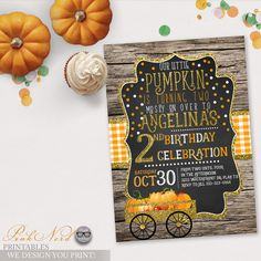 Fall birthday invitation pumpkin glitter and gold printable - Pink Nerd Printables
