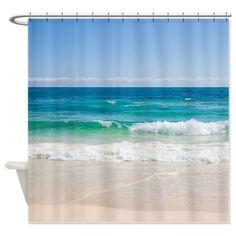 Beach+Shower+Curtain   ... > Beach Bathroom Accessories & Décor > Beach Shore Shower Curtain