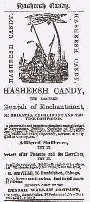 """The Incredible, Delectable, Miracle of 19th Century Medicine: Hasheesh Candy! An extraordinary advertisement for """"Hasheesh Candy"""" from the mid-1800s claims endorsements from famous US Civil War generals Ulysses S. Grant and General Robert E. Lee. This popular candy, made from a mix of hash and maple sugar, even appeared in the famous Sears & Roebuck Catalogs of the day and the Chicago Daily Tribune. Druggists in Michigan took out their own ads for it after becoming agents for the company."""