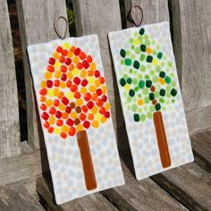 Trees Fused Art Glass Wall Hangings by FirstLightGlass