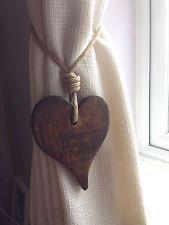 - Pair Of Handmade Offset Dark Wooden Heart Curtain Tie Backs. With Jute Rope Tie. Farmhouse Curtains, Rustic Curtains, Diy Curtains, Curtains With Blinds, Tie Backs For Curtains, Cabin Curtains, Curtain Tie Backs Diy, Curtain Ties, Curtain Holder