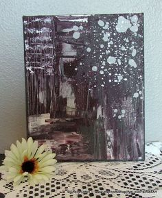 Original Abstract Art: You will receive an 8x10 acrylic canvas painting. Colors are dark plum, silver, gray and white. The sides are painted as well, so no need to frame.