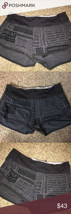 24 HOUR ONLY SALE BLACK Lululemon shorts Black Lulu shorts in absolute perfect condition. I'm really sad to sell these but unfortunately they do not fit. Size 4. So perfect. I think they're rare because I've never seen these before anywhere! Price is firm! lululemon athletica Shorts
