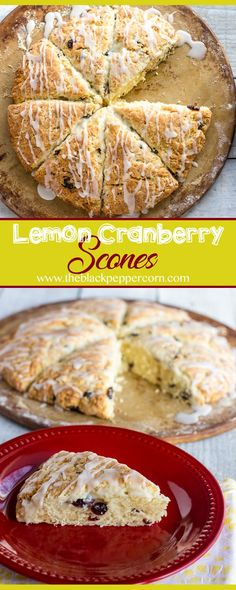 Lemon Cranberry Scones - Buttery and flakey scones that melt in you mouth. These biscuits have lemon zest and dried cranberries with a lemon icing drizzle. via @blackpeppercorn