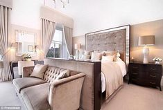 On the market: Michelle Mone has put her luxury Glasgow townhouse up for sale so she can buy her husband out of their dream mansion - Luxury Decor Dream Bedroom, Home Bedroom, Modern Bedroom, Bedroom Furniture, Bedroom Decor, Bedroom Ideas, Contemporary Bedroom, Master Bedrooms, Furniture Ideas