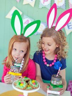 Hasenohren basteln-mit Kindern-zu Ostern-ideen bunt