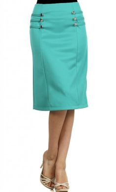 Womens modest mid length pencil skirts with slight a line and button trim design.  #pencilskirts