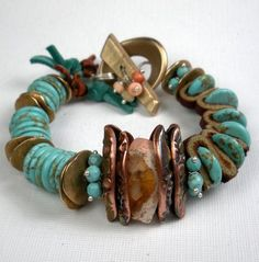Turquoise Mixed Metal Bracelet, a Beaded Bracelet with Leather, Handcrafted Bronze and Copper PMC, Turquoise and Mexican Fire Opal-Taos. $259,00, via #Gemstones| http://gemstonesgaston.blogspot.com