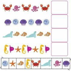pattern activities for preschool Ocean Activities, Pre K Activities, Educational Activities, Montessori Math, Preschool Activities, Letter Practice Sheets, Hidden Picture Puzzles, Pattern Worksheet, Math Patterns