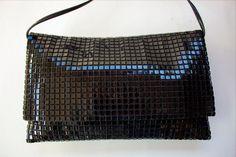 Vintage LUMURED 1950's BLACK SHINY Lucite Squares Clutch Handbag SHOULDER BAG #LUMURED #ShoulderBag
