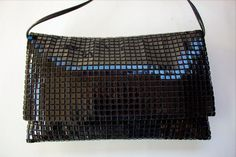 Vintage LUMURED 1950's BLACK SHINY Lucite Squares Clutch Handbag SHOULDER BAG #LUMURED #ShoulderBag