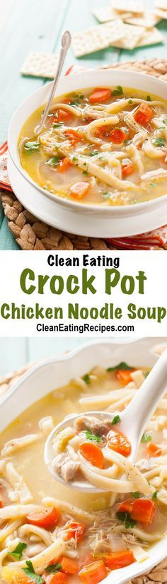 I love this crock pot chicken noodle soup recipe because the chicken cooks all day and gets really tender and then I make simple noodles. It's so comforting and healthy and everyone loves it.
