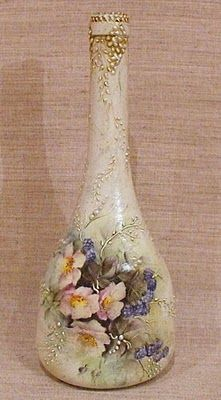 This decoupage technique is fast and easy and makes a great first time decoupage project. But it's also a great technique for the more experienced decoupage Glass Bottle Crafts, Wine Bottle Art, Painted Wine Bottles, Diy Bottle, Bottles And Jars, Glass Bottles, Bottle Lamps, Empty Bottles, Vintage Bottles