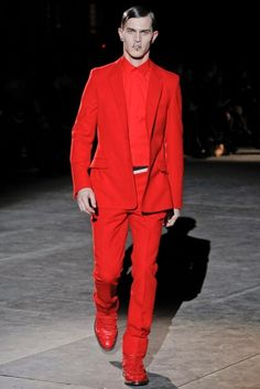 Givenchy Man Fall/WInter 2012-13 - I like the suit but what's up with all the models with piercings all over their face?