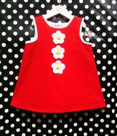 Red Retro Daisy Baby Dress Toddler Dress - FREE matching doll - Girls Dress - to years) Little Girl Outfits, Kids Outfits, Toddler Girl Dresses, Girls Dresses, Kids Wear, Children Wear, 4 Years, Baby Dress, My Girl