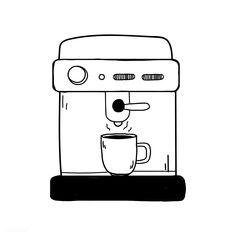 Espresso machine coffee shop icon vector | free image by rawpixel.com / filmful Coffe Machine, Machine Expresso, Coffee Icon, Coffee Art, Coffee Signs, Coffee Maker, Coffee Drawing, Coffee Painting, Coffee Doodle