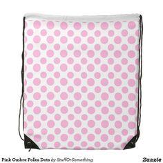 Pink Ombre Polka Dots Drawstring Bags