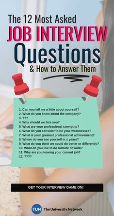 12 Typical Job Interview Questions: How To Answer Them Securing a job would be so much easier if you know the questions the hiring manager will ask you in your next Well, we'll give you the next best thing: a list of the most commonly asked questions and Typical Job Interview Questions, Job Interview Preparation, Interview Questions And Answers, Job Interview Tips, Management Interview Questions, Management Tips, Preparing For An Interview, Job Interviews, Executive Interview Questions