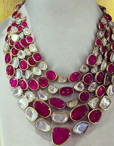 @amrapalijewels. Ruby diamond necklace set in gold.