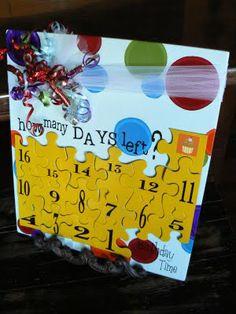 The Creative Homemaker: Birthday {Countdown} Puzzle Piece Crafts, Puzzle Pieces, Birthday Countdown, Christmas Countdown, Birthday Parties, Happy Birthday, Birthday Ideas, Puzzle Party, Recycled Art Projects
