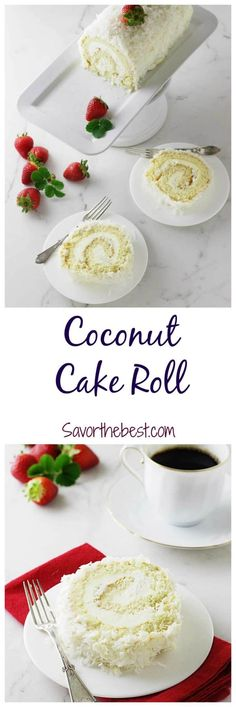 A recipe for a coconut cake roll that is light and not too sweet. It has a filling and frosting of a creamy mixture and covered with shredded coconut. Cake Roll Recipes, Best Dessert Recipes, Fun Desserts, Sweet Recipes, Delicious Desserts, Dessert Ideas, Brownies, Coconut Recipes, Coconut Desserts