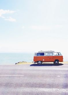road trip! Orange and white Volkswagen van!