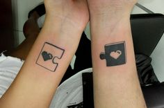 11 cute puzzle piece matching tattoo http://hative.com/cool-puzzle-piece-tattoo-design-ideas/