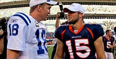 Pics Peyton Manning As Bronco   Indianapolis Colts v Denver Broncos Manning & Tebow