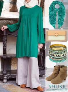 Go Green in SHUKR's Jersey Pleated Dress Top