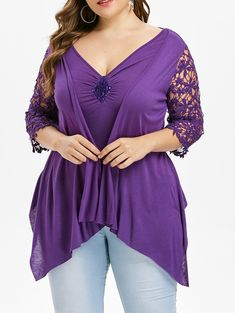Plus Size Faux Twinset Lace Insert Asymmetrical T-Shirt Women Tops Casual Solid V Neck Three Quarter T Shirt 2019 Tees Purple Ir Plus Size Blouses, Plus Size Tops, Plus Size Dresses, Plus Size Outfits, Casual Tops For Women, Blouses For Women, Ladies Tops, Plus Size Womens Clothing, Plus Size Fashion