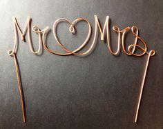 Copper Wire Mr & Mrs/Heart Wedding Cake Topper