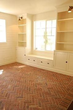 Built-ins, window seat, and herringbone brick flooring House Design, House, Interior, Home, House Styles, New Homes, Flooring, Brick Flooring, Window Seat