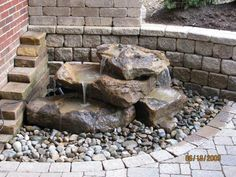 small rock pile fountain for the back porch : rock pile fountain for the back porch Stone Water Features, Small Water Features, Outdoor Water Features, Water Features In The Garden, Diy Garden Fountains, Pond Fountains, Small Fountains, Landscaping With Fountains, Rock Fountain
