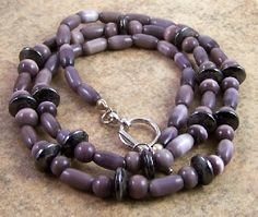 Gray Hematite Gemstone Purple Cats Eye Glass Beaded Necklace