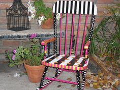 Fabulous Whimsical French Style Children's Rocking Chair Hand Painted Vintage. $199.99, via Etsy.