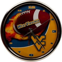 West Virginia Mountaineers Flame Chrome Clock