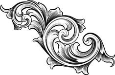 Vector - Designed by a hand engraver, this carefully drawn and highly detailed intertwining scrollwork can be used a number of ways. Easily change the scroll colors. Scale to any size without loss of. Baroque Design, Filigree Design, Filigrana Tattoo, Sculpture Ornementale, Gravure Metal, Ornament Drawing, Metal Engraving, Carving Designs, Motif Floral