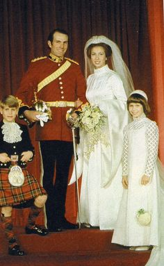 Captain Mark Phillips and Princess Anne on their wedding day, November 14, 1973. Princess Margaret's daughter, Lady Sarah Armstrong-Jones, cousin of the bride, along with Princess Anne's younger brother, Prince Edward were the only two attendants in the wedding.