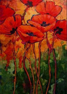 Poppy Flower Painting, Flower Art, Poppies Painting, Poppies Art, Red Poppies, Abstract Flowers, Abstract Art, Arte Floral, Painting Inspiration