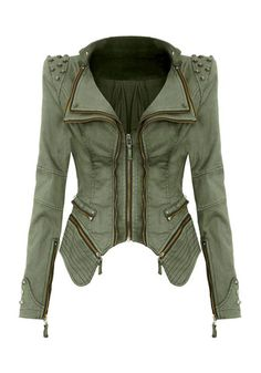 Studded Shoulder Denim Blazer - Green - Unique Trendy Denim Jacket. Jaclyn Hill wears this and swears by it. Loving the edgyness to this jacket.