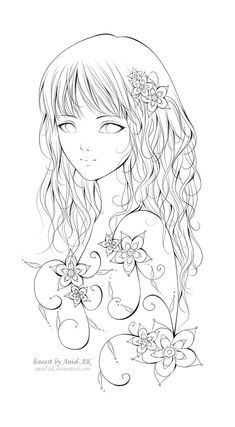 Fantasting Drawing Hairstyles For Characters Ideas. Amazing Drawing Hairstyles For Characters Ideas. Coloring Book Pages, Printable Coloring Pages, Fairy Coloring, Manga Girl, Colorful Pictures, Line Art, Art Drawings, Sketches, Illustration